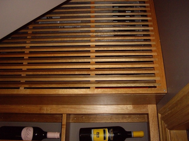 Wooden Grill Cover Conceals the Wine Cooling Unit